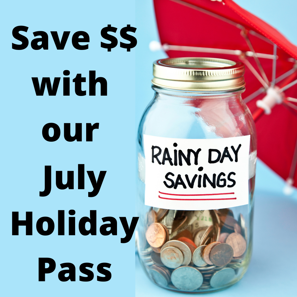 """Save $$ with our July Holidays Pass. Use pass up to once a day for """"out of the weather fun"""". Valid for 1 hour general jump sessions, Gravity Rock, and Friday Jump Jams. Only 150 available. NOTE: Use code in discount section when booking. Bookings must be made online in advance - its our busiest holidays, and we dont want you to miss out!"""